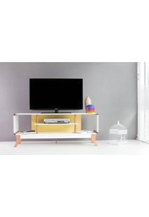 Rack Tv Retrô Vintage Branco/Amarelo Prestage 2 Nichos 1,4M Mdf Com Pés Madeira Cor Jatobá - 140X40X55 Cm