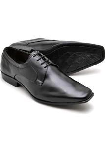 Sapato Social Masculino Em Couro Soft Reta Oposta - Masculino-Preto
