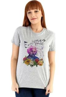 Baby Look Ouroboros Manga Curta Einstein'S Galaxy - Feminino-Cinza