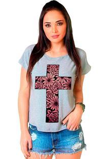 Camiseta Shop225 Cruz Floral Mescla