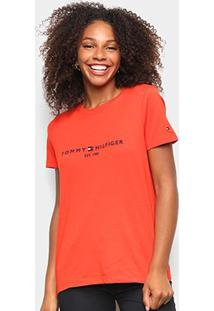 Camiseta Tommy Hilfiger Básica Logo 1985 Feminina - Feminino-Laranja