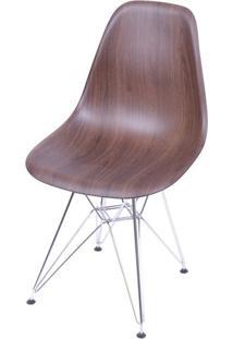 Cadeira Eames Polipropileno Amadeirado Escuro Cromada - 40597 - Sun House