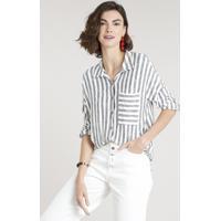 638ae237a Camisa Feminina Listrada Com Bolso Manga Longa Off White