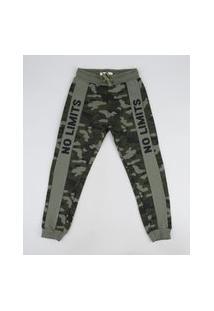 Calça De Moletom Infantil Jogger Estampada Camuflada Com Recorte Verde Militar