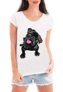 Camiseta Criativa Urbana Pug - Feminino-Branco
