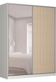 Guarda-Roupa Solteiro Com Espelho Tunas V 2 Pt 3 Gv Branco E Noce