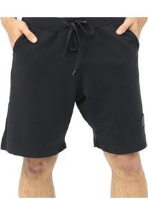 Bermuda Dpontes Moletom Com Cordão 2 Bolsos Masculina - Masculino-Preto
