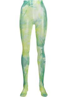 Versace Meia-Calça Com Efeito Tie-Dye - Verde