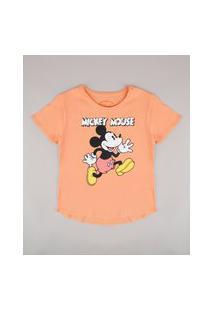 Blusa Juvenil Mickey Manga Curta Laranja Claro