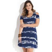 56ceab604 Posthaus. Vestido Tie Dye Ombro Vazado Plus Size Quintess