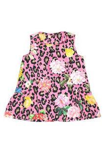 Vestido Infantil / Baby Em Crepe De Poliester Estampado - Um Mais Um Pink