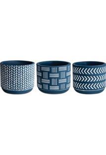 Jogo De Cachepot Geomã©Trico- Azul Escuro & Branco-3Pmart