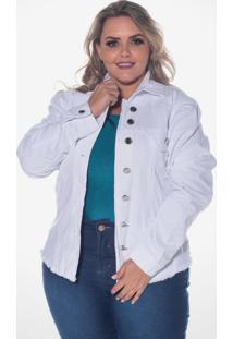 Jaqueta Jeans Destmoda Plus Size Branca