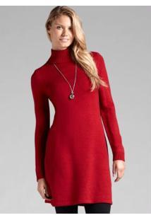 Vestido De Tricô Vermelho