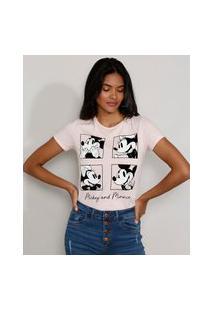 Camiseta Feminina Manga Curta Mickey E Minnie Decote Redondo Rosa Claro