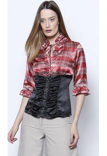 Camisa Acetinada Com Xadrez - Vermelha   Preta - Silsilk Lord fc67d1546f