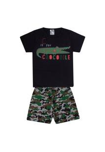 Conjunto Pijama Infantil Menino Em Meia Malha Camiseta Preta E Bermuda Mescla Rotativa - Kontrato