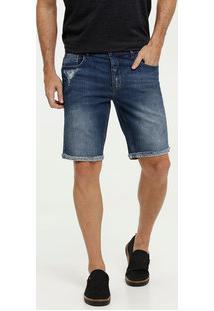Bermuda Masculina Jeans Puídos Mr