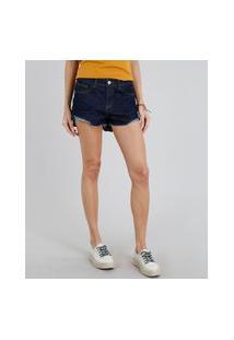 Short Jeans Feminino Boy Com Barra Desfiada Azul Escuro