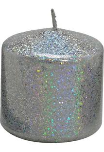 Vela Pilar Com Glitter- Prateada- 7Xã˜7,5Cm- Mabrmabruk