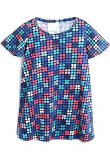 Vestido Malwee Kids Geométrica Azul - Tricae