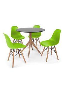 Conjunto Mesa De Jantar Maitê 80Cm Preta Com 4 Cadeiras Charles Eames - Verde