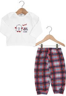 Pijama Ami De Lit Longo Baby Xadrez Branco/Vermelho