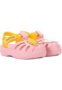 Sandália Infantil Grendene Kids Looney Tunes Folks Baby - Masculino-Rosa+Amarelo