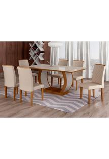 Conjunto De Mesa De Jantar Com Vidro E 6 Cadeiras Maia I Veludo Imbuia E Creme