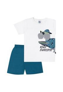 Pijama Meia Malha - 46561-3 - (4 A 10 Anos) Pijama Branco - Infantil Menino Meia Malha Ref:46561-3-4