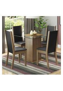 Conjunto Sala De Jantar Madesa Giulia Mesa Tampo De Vidro Com 4 Cadeiras Rustic/Preto/Sintético Preto