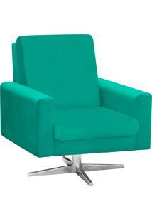 Poltrona Decorativa Beatriz Suede Verde Tiffany Com Base Giratória Estrela Aço Cromado - D'Rossi
