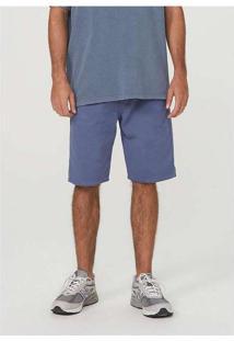 Bermuda Masculina Em Sarja De Algodão Azul