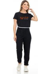Camiseta Cropped Clara Arruda Viés Estampada 18020028 Feminina - Feminino-Preto