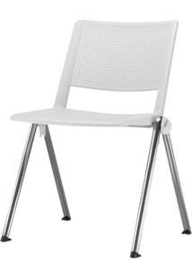 Cadeira Up Assento Branco Base Fixa Cromada - 54325 Sun House