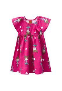 Vestido Infantil - Meia Malha - Bailarina - Rosa Choque - Kyly