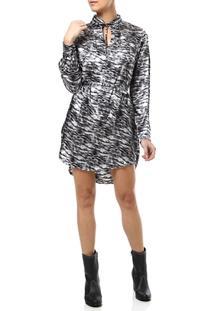 Vestido Curto Feminino Chemise Animal Print Prata - Feminino