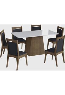 Conjunto Mesa C/ Base 6 Cadeiras Ameixa Negra Móveis Cançáo - Tricae