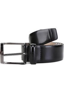 Cinto Couro Shoestock Box Masculino - Masculino-Preto