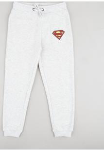 Calça Infantil Super Homem Em Moletom Cinza Mescla Claro