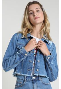 Jaqueta Jeans Feminina Cropped Destroyed Com Barra Desfiada Azul Médio