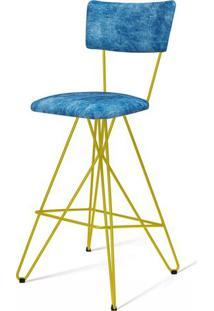Banqueta Pop Azul Base Estrela Amarela 98 Cm (Alt) - 49685 - Sun House