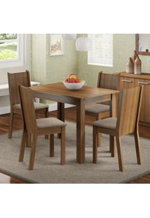 Conjunto Sala De Jantar Madesa Rute Mesa Tampo De Madeira Com 4 Cadeiras Marrom - Tricae