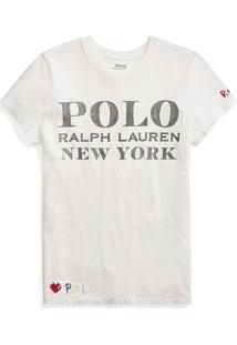 Camiseta Polo Ralph Lauren Lettering Branca - Kanui
