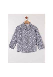 Camisa Manga Longa Estampada Infantil Para Menino- Azul Marinho