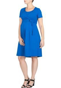 Vestido A Gestante Amamentação Laço Azul