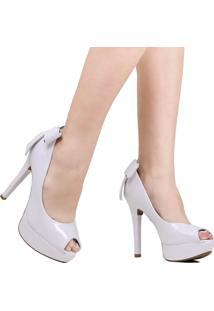 Sapato Peep Toe Vizzano Noivas Laço Branco