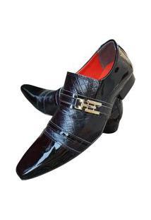 Sapato Masculino Italiano Social Executivo Em Couro Art Sapatos Preto Vinil