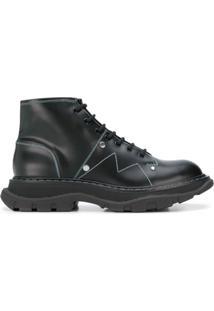 Alexander Mcqueen Ankle Boot Robusta Com Detalhe De Costura - Preto
