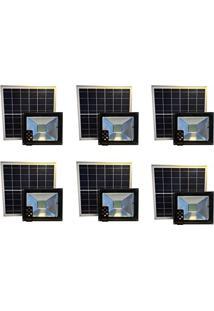 Refletor Solar Led Holofote 30W Branco Frio Kit 6